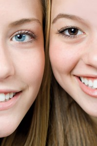 Faces of two girls