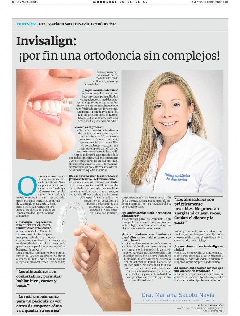 Clínica Mariana Sacoto Navia Experto en Ortodoncia Digital Invisible sin Hierros Articulo Vanguardia 2011